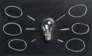 Image of a light bulb in the center of a black board with lines radiating from it to new bubbles like ideas.